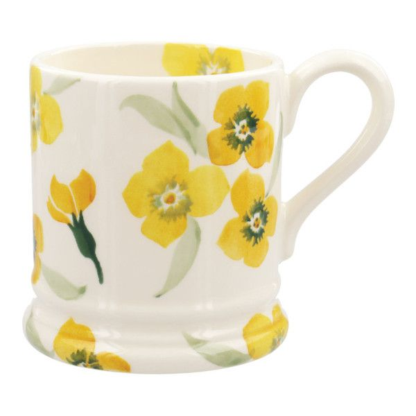 Yellow Wallflower 1/2 Pint Mug ($28) ❤ liked on Polyvore featuring home, kitchen & dining, drinkware, earthenware mugs, yellow mugs and english mugs