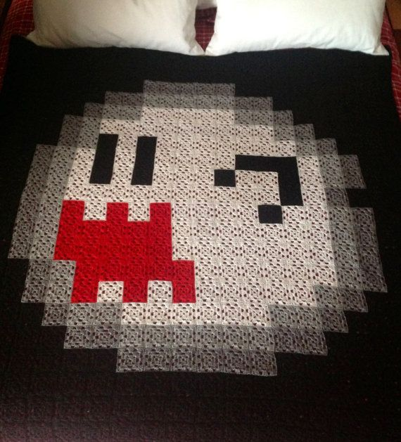 Large Super Mario Boo 8-bit Square Crochet Blanket by AtomicBits