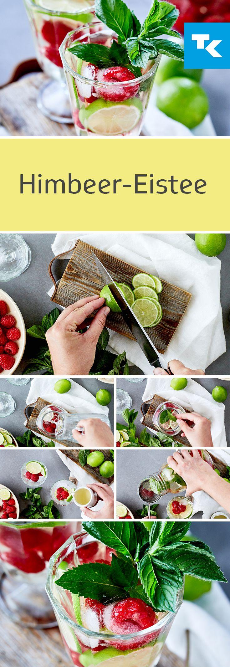 Himbeer-Eistee – der fruchtig-spritzige Power-Drink für den Sommer. Himbeeren…