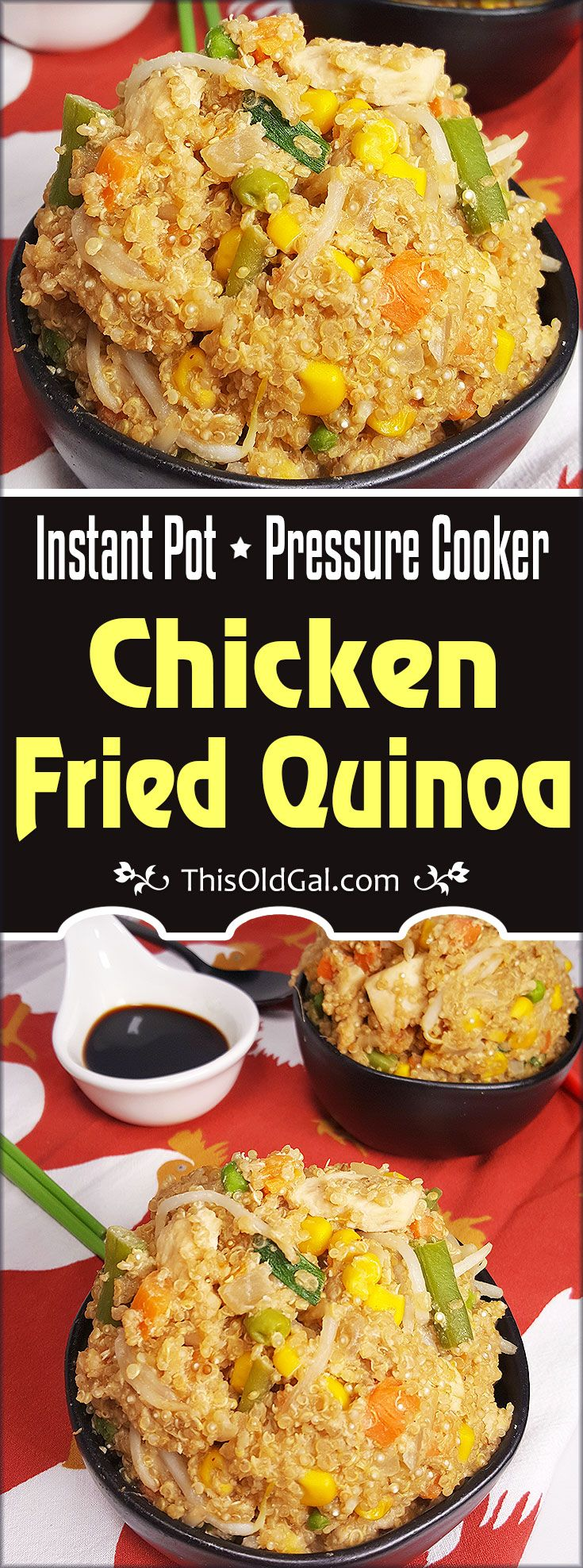"""Instant Pot Chicken Fried Quinoa """"Rice"""" is packed with protein and is a healthier alternative to Chicken Fried Rice. Perfect for Weight Watchers and lower calorie diets. via @thisoldgalcooks"""
