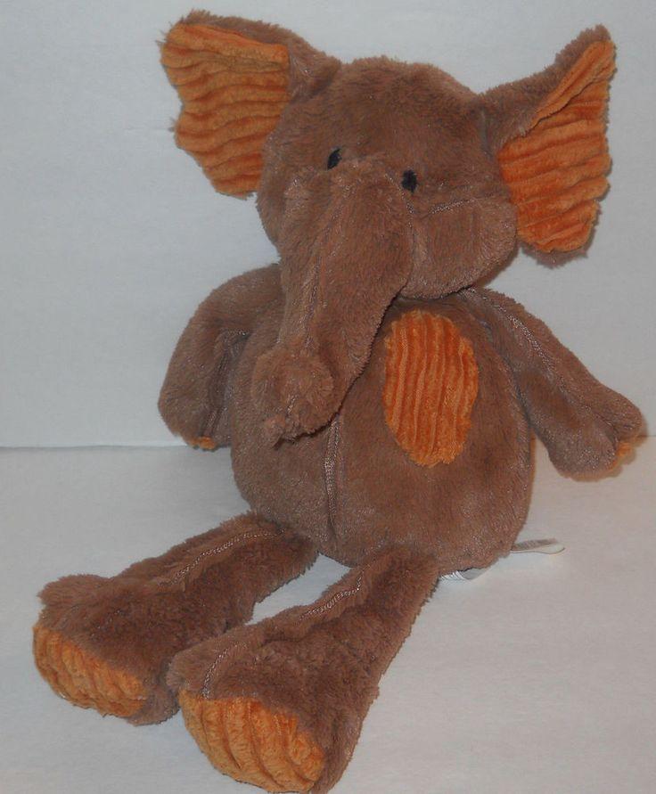 "Pier 1 One Imports Elephant Plush Corduroy Brown Orange Bean Bag 14"" Sewn Eyes  #Pier1Imports"