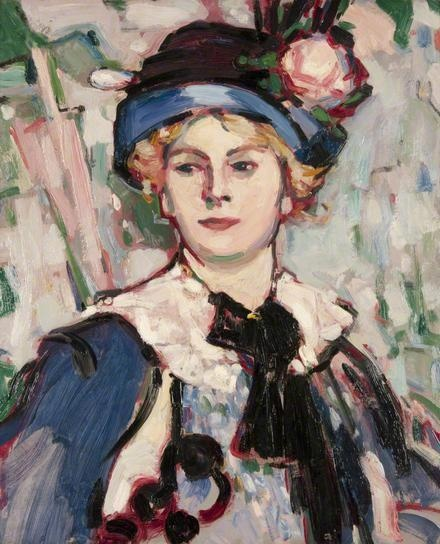 FERGUSSON, John Duncan, (1874-1961) Scottish artist: -- 'The Pink Parasol' (Bertha Case).