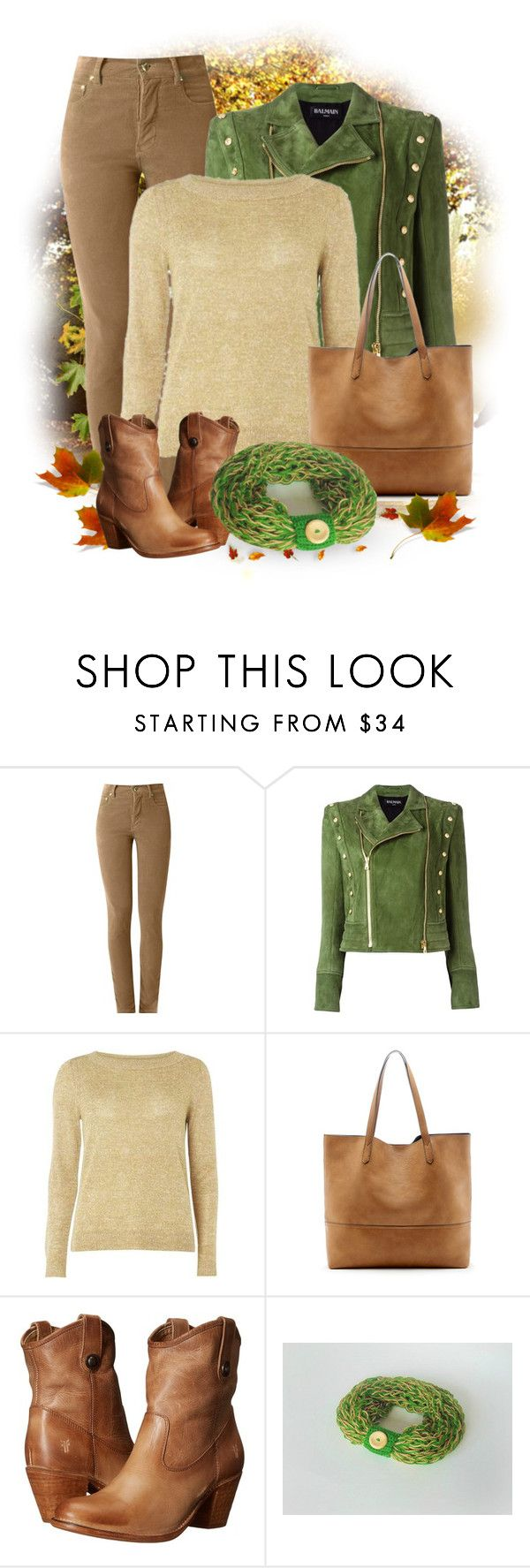 """Beige & Brown & Green"" by styledonna on Polyvore featuring moda, Amapô, Balmain, VILA, Sole Society i Frye"