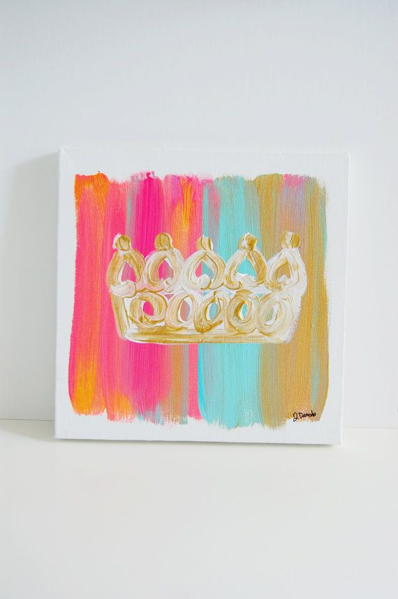 / 10X10 Golden Crown Canvas by thesmittencollection on Etsy, $25.00