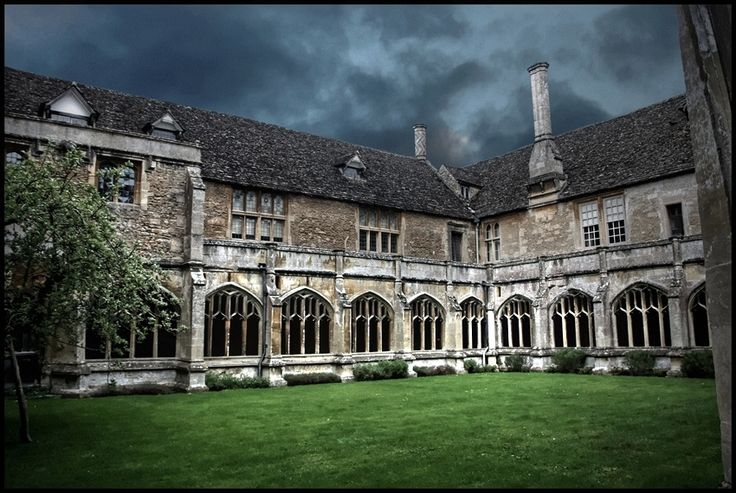 The court yard and Cloisters in the centre of Lacock Abbey, Wiltshire. England.