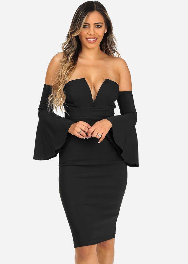 Black Plunging Neckline Strapless Knee Length Dress