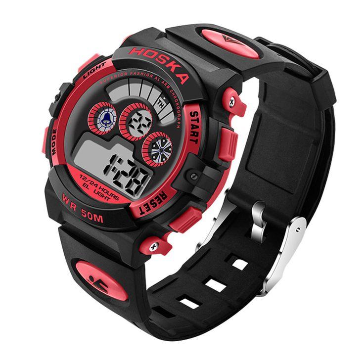 HOSKA Men Sport Digital Watch Waterproof Luminous Numbers Alarm Function  #women #men #fashion #jewelry #watches