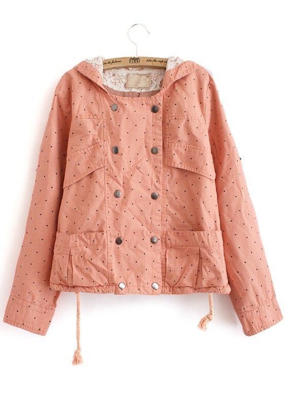 Pink Polka Dot Print Buttons Cotton Blend Trench Coat