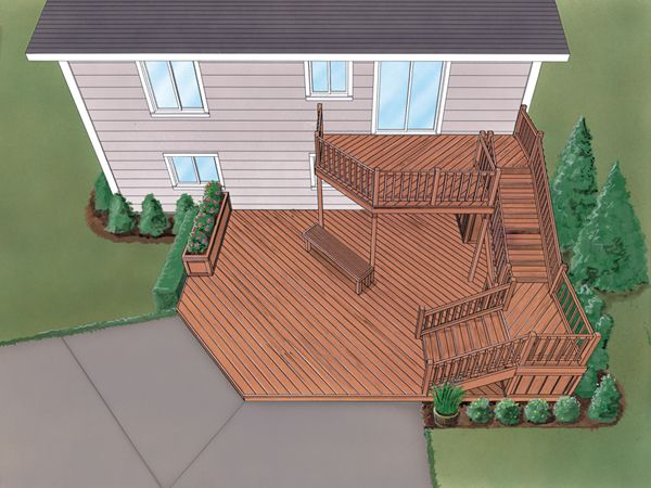 Deck Ideas For Bi Level Homes: Grafton Split-Level Deck
