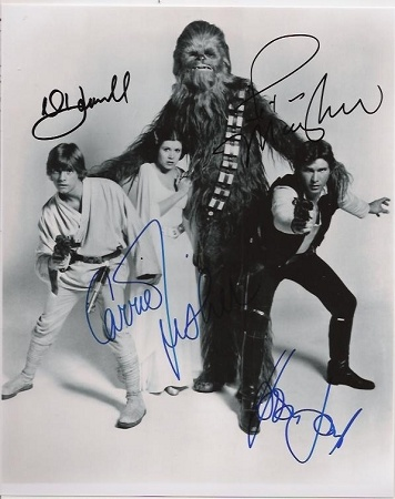 Star Wars Authentic Cast (A New Hope) Signed 8x10 Autograph Photo - Harrison Ford, Mark Hamill, Carrie Fisher and Peter Mayhew