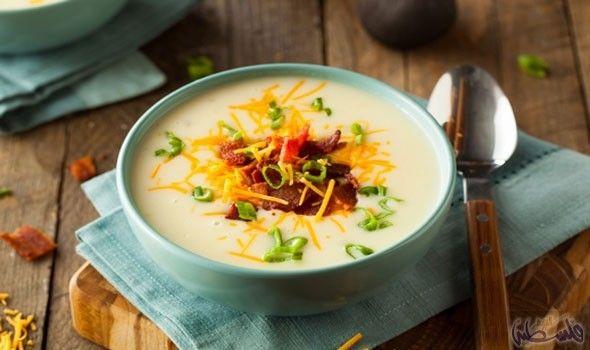 طريقة إعداد شوربة البطاطس باللحم المدخن والكريمة Healthy Potato Recipes Loaded Potato Soup Potato Recipe For Kids