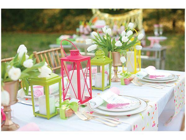 Arreglos mesa boda neón