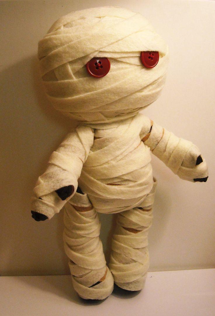 Felt mummy Halloween inspired custom plush stuffed rag doll toy