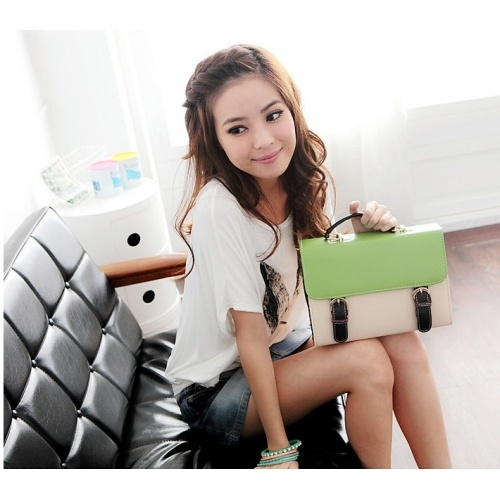 Solid Green Zipper PU Fashion Bags $6.80