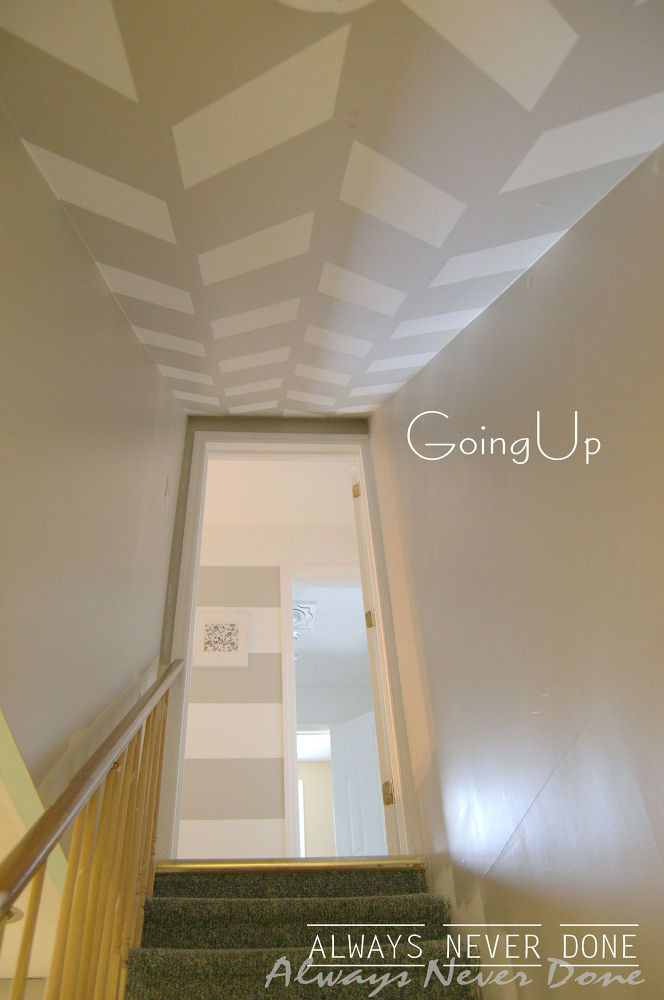 s 17 impossibly creative ceiling ideas that will transform any room, painting, wall decor, Cover empty space in a graphic herringbone