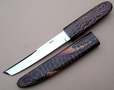 RC-62 Koi Art Tanto by David Brodziak  Blade:	440C Stainless Steel  Handle:	Beefwood  Scabbard:	Beefwood  Embellished:	Koi handpainted by Carol Ann O'Connor