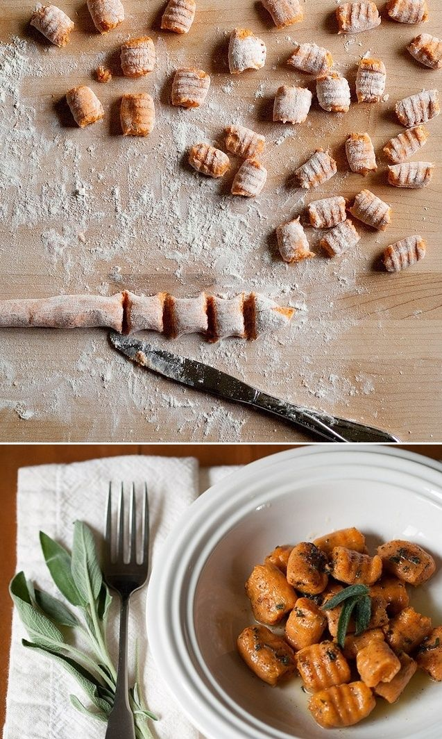 Sweet potato gnocchi with brown butter and sage...this screams fall ...