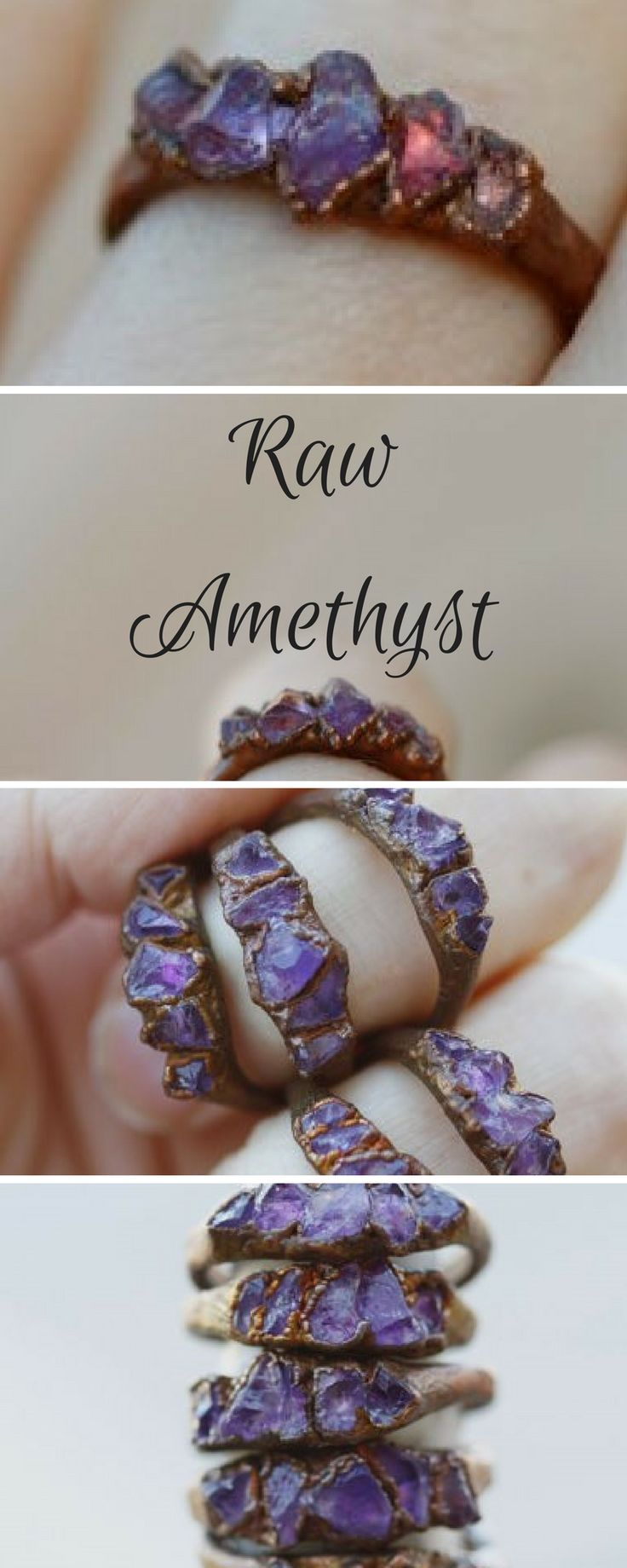 Amethyst Ring: February birthstone ring, stacking ring for Valentines Day for wife for girlfriend, anniversary, copper, gemstone, purple. #etsy #affiliate #handmade
