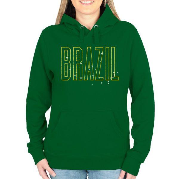 Brazil Women's Flag Pullover Hoodie - Green - $44.99