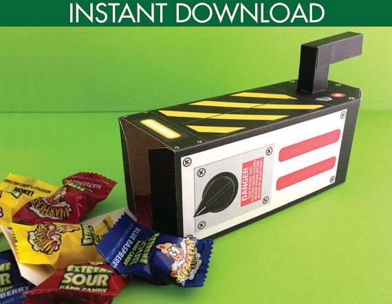 Ghostbuster Trap Box - Ghostbuster Party Favor Box, Gift Card Box, Gift Box - Ghostbusters Inspired - Instant Download DIY Printable PDF Kit $7.99