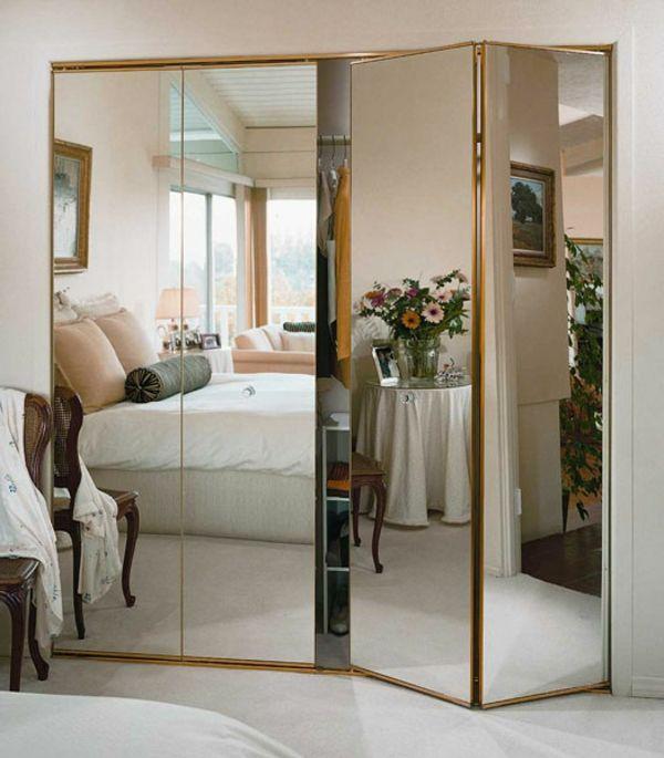 portes de placard pliantes, portes avec miroi, encadrement doré