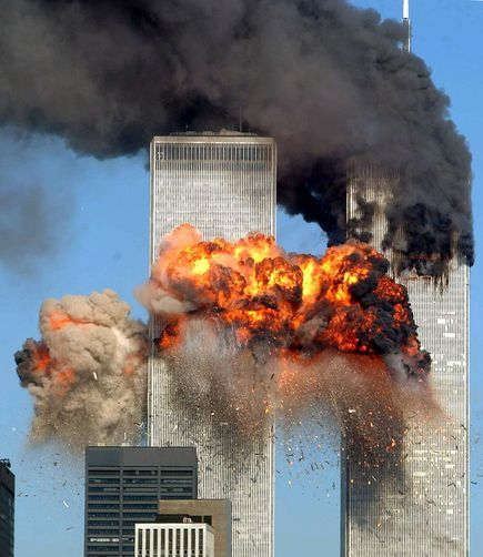 Moment of Impact    Photograph by Spencer Platt, Getty Images    Smoke and flames billow as United Airlines Flight 175 crashes into the World Trade Center's south tower on 9/11, killing everyone aboard and hundreds more inside the building.