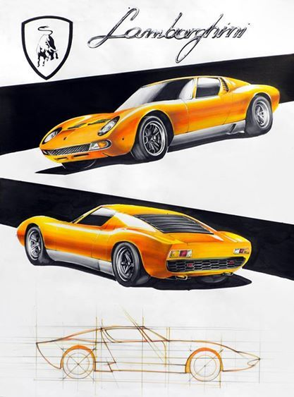 Lamborghini Miura markers 70x50cm drawn in 2010  by Bartek Siegieda