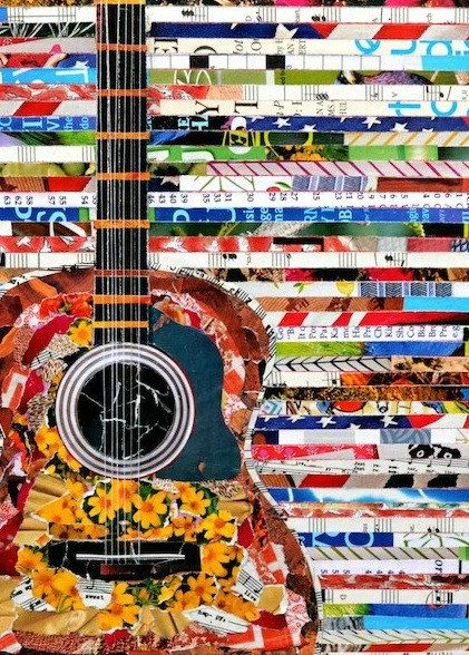 Guitar Poster. Magazine paper guitar poster. by UpAgainstTheWall