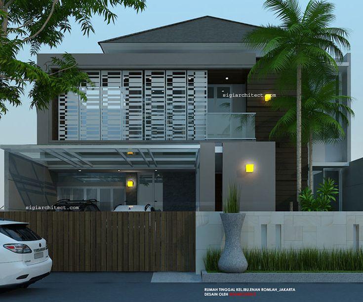 Rumah 2 lantai minimalis tropis modern fasade depan arsitektur modern