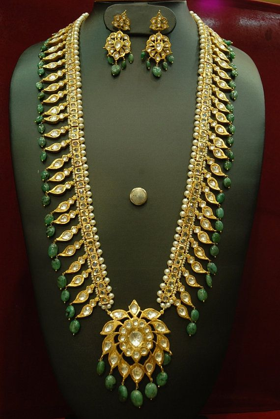 Alyza pearls pathani haar in real emeralds