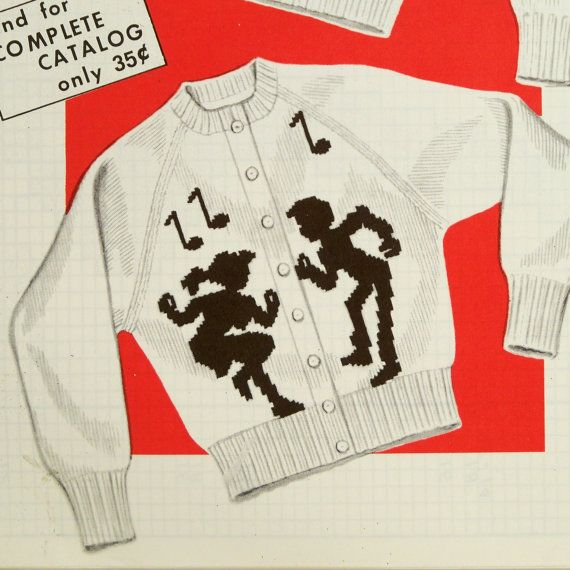Vintage 1950s Knitting Pattern Sweater Dancers Charted by Revvie1, $6.00