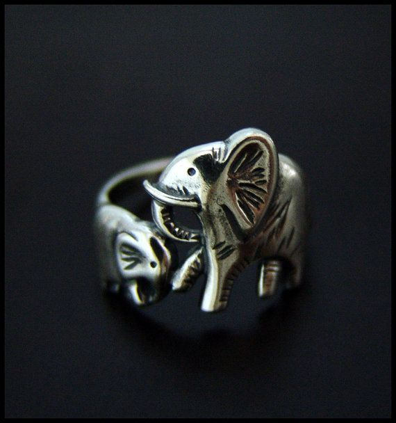 Baby Mama Elephants Ring High Quality by SilverJewelryShop