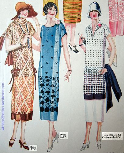 Butterick patterns for June 1924: a dress with a contrast band at hem, a dress made from a border print fabric, and a border print tunic worn over a costume slip. Delineator.