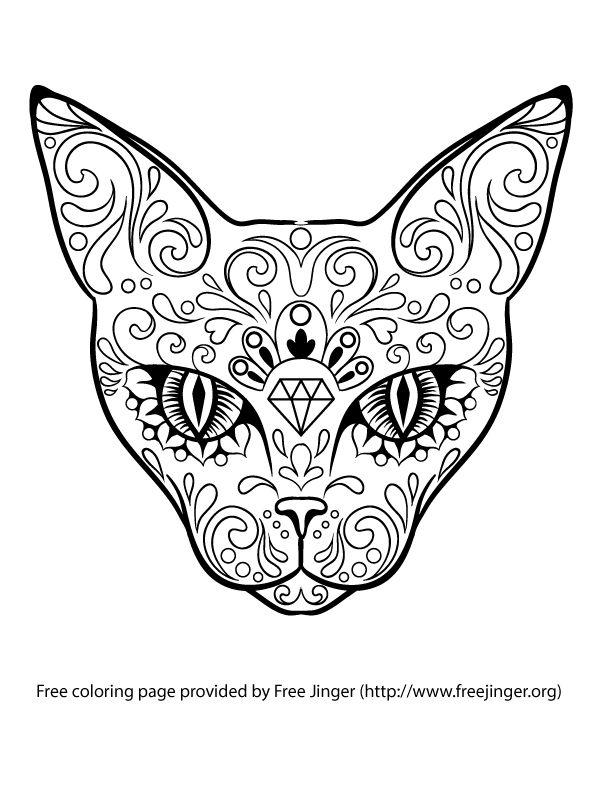 Sugar skull cat head with diamond, free by freejinger.org ...