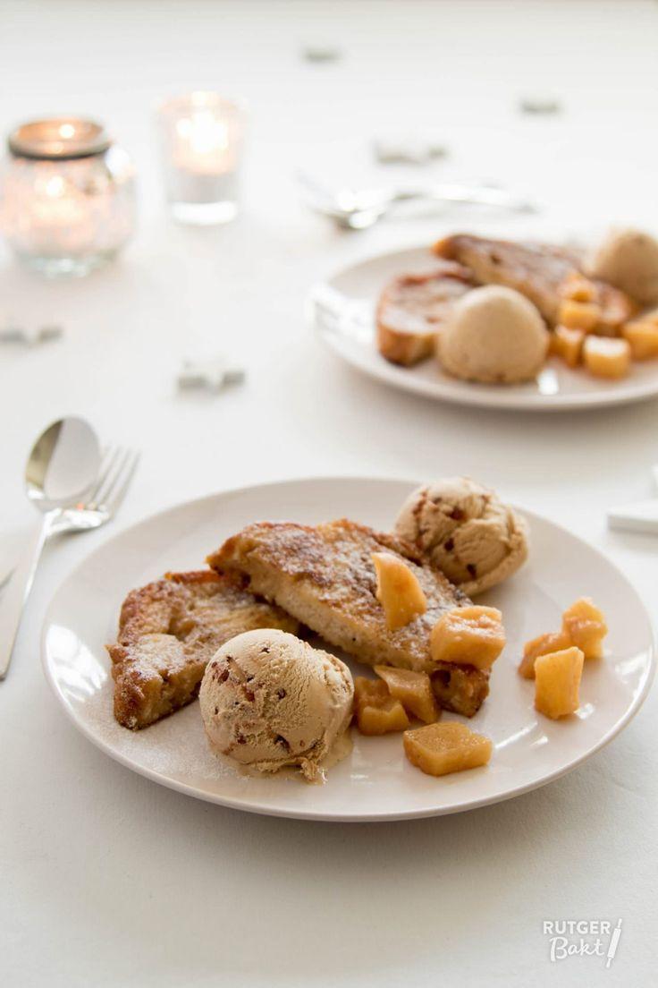 Deze wentelteefje van suikerbrood zijn heerlijk als dessert. Heerlijk met een bolletje kaneelijs en wat gekarameliseerde appel erbij.