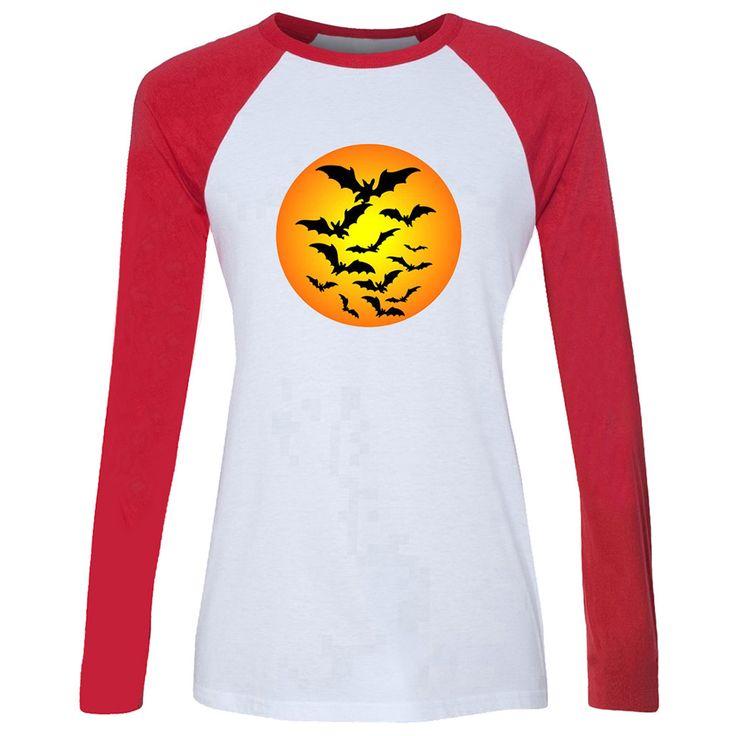 Women T-shirt Happy Halloween Trick Or Treat Black Bat free love heart Long Sleeve Girl Casual Lady