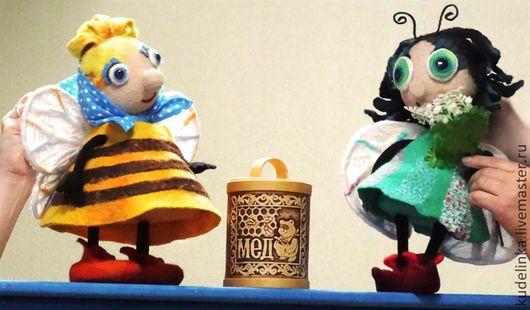 Кукольный театр ручной работы. Муха-цокотуха и Комар. Театральные планшетные куклы. Кукольный театр. Елена Рагулина Куклы. Звери. Птицы. Ярмарка Мастеров.