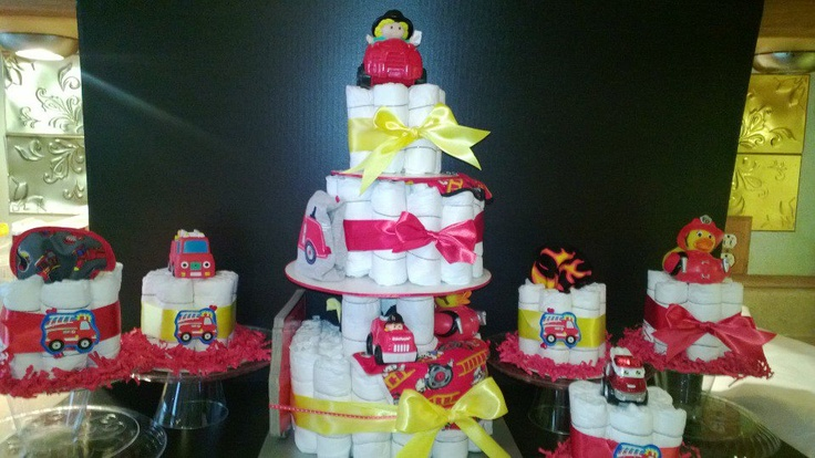 fireman fire truck themed diaper cakes baby shower decorations and