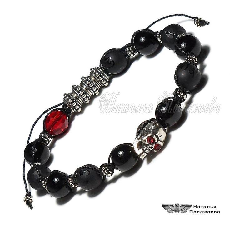 Браслет ДРАКУЛА (ШАМБАЛА, v.391)    Мистический мужской браслет из серебра 925 пробы и черного оникса с магическими знаками....