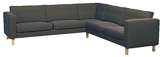 The Gray Cotton Karlstad Corner Sofa Cover ( 2+3 / 3+2 )