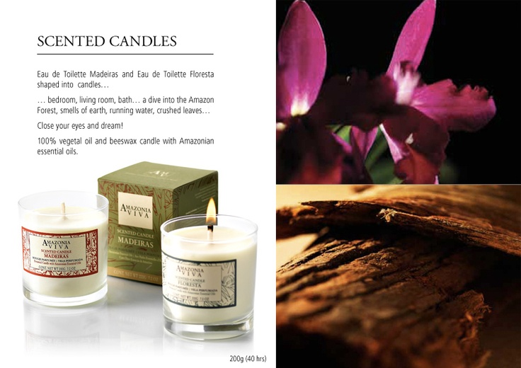 BOTANICAL CANDLE 200g (40 hrs)  100% vegetal oil and beeswax candle with Amazonian essential oils.  Tree bark, flowers, roots… Floresta    ... bedroom, living room, bath, a dive into the Amazon Forest, smells of earth, running water, crushed leaves... Close your eyes and dream!