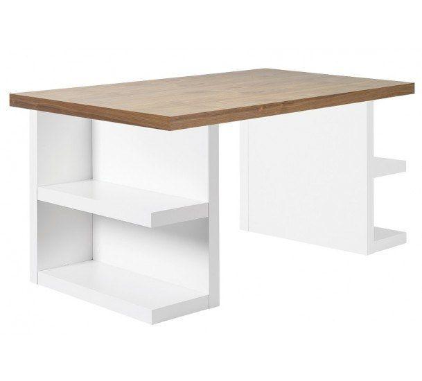 Multi Skrivebord - Valnød - Skrivebord med hylder og en bordplade i valnøddefinér