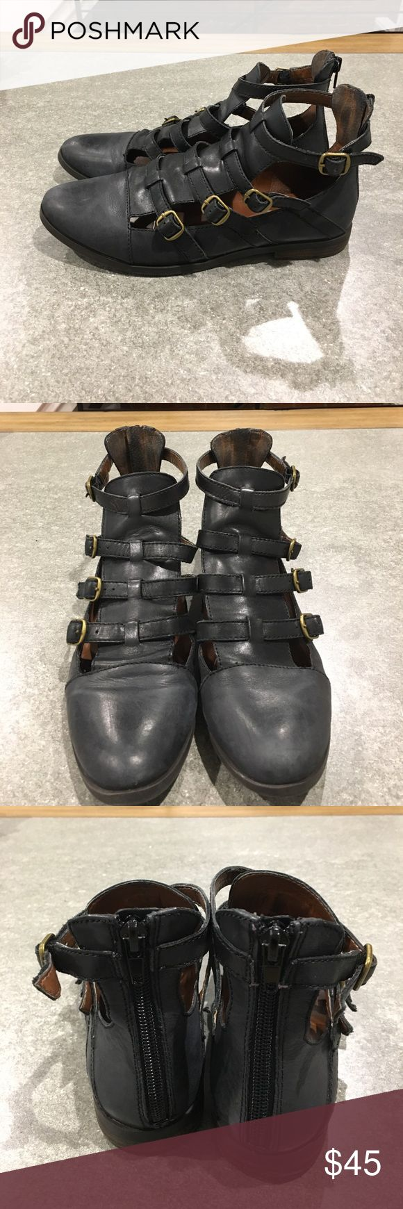 Lucky brand ankle buckle shoes Good used condition. 4 adjustable buckles on each shoe, and a zipper on the back for easy put on. Looks good with dresses and jeans. Ankle boots Lucky Brand Shoes Ankle Boots & Booties