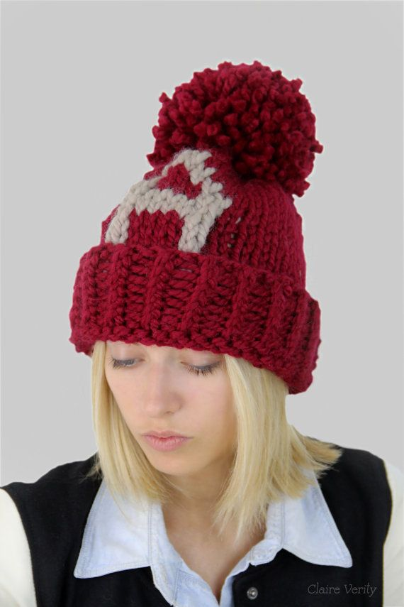 The Varsity Custom Knit Letter Hat You pick the colors & you pick the Letter! * Thick and chunky knit hat * Fun Large pom pom * Great as a back to