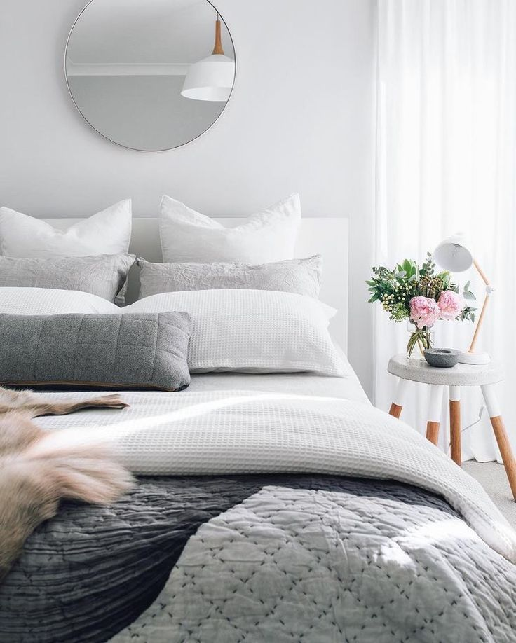 Modern white and gray bedroom styling