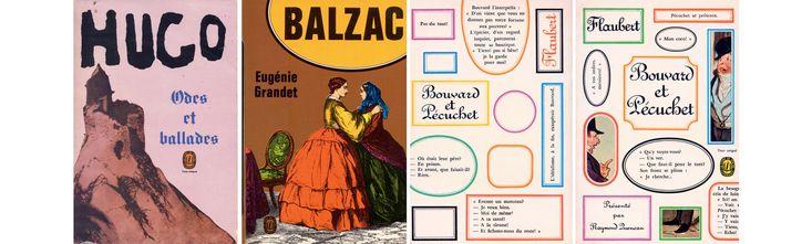 Pierre Faucheux couvertures Livre de Poche Bouvard et Pecuchet Flaubert 1966 Eugenie Grandet Balzac 1972 Victor Hugo Odes et ballades 1969
