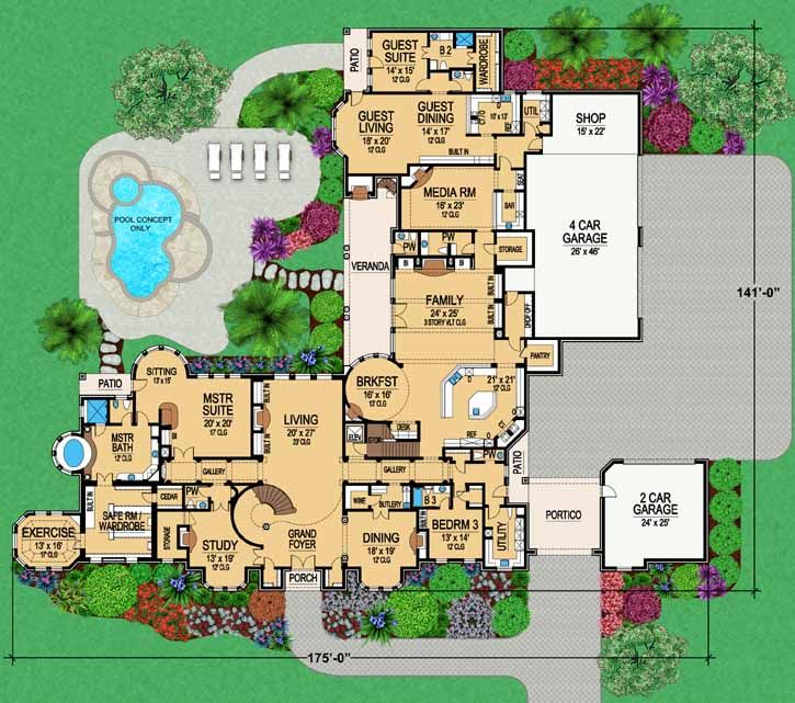 main floor plan 6 bedroom - 6 Bedroom House Plans
