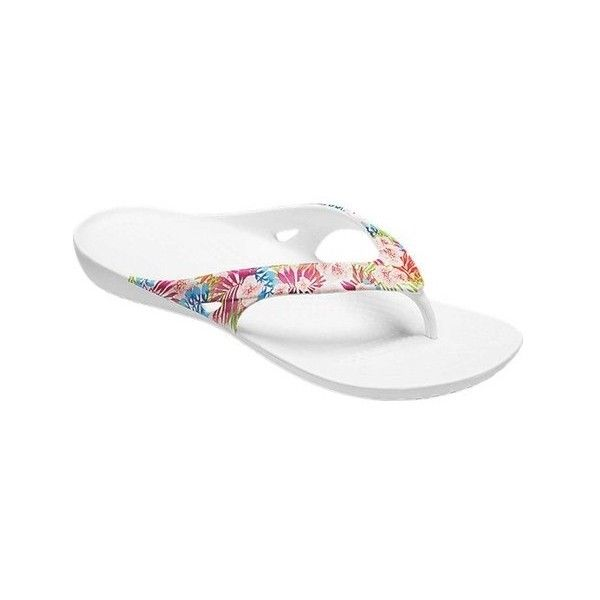 Women's Crocs Kadee II Graphic Flip Sandal ($20) ❤ liked on Polyvore featuring shoes, sandals, flip flops, casual, white flip flops, strappy thong sandals, floral sandals, white strappy sandals and strappy flats sandals