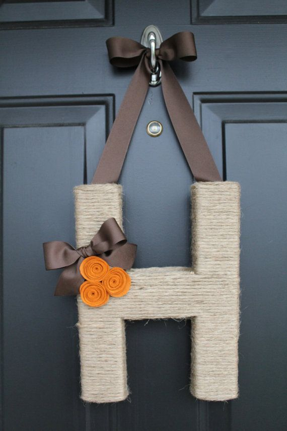 Monogram wreath ... Cute for the front door, instead of a round wreath (non holidays)
