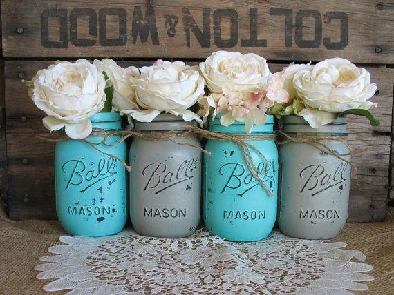 Bocaux Mason pinte, bocaux de boule, peint des pots Mason, Vases à fleurs, centres de mariage rustique, Turquoise et bocaux Mason gris